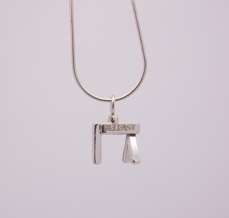 Belfast Crane Solid Silver Necklace and Pendant - Plain