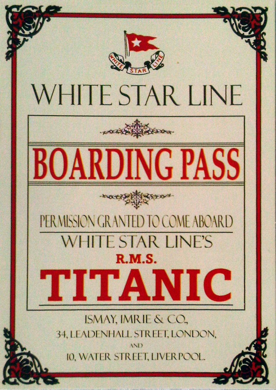 White Star Line Titanic Boarding Pass Postcards (6)