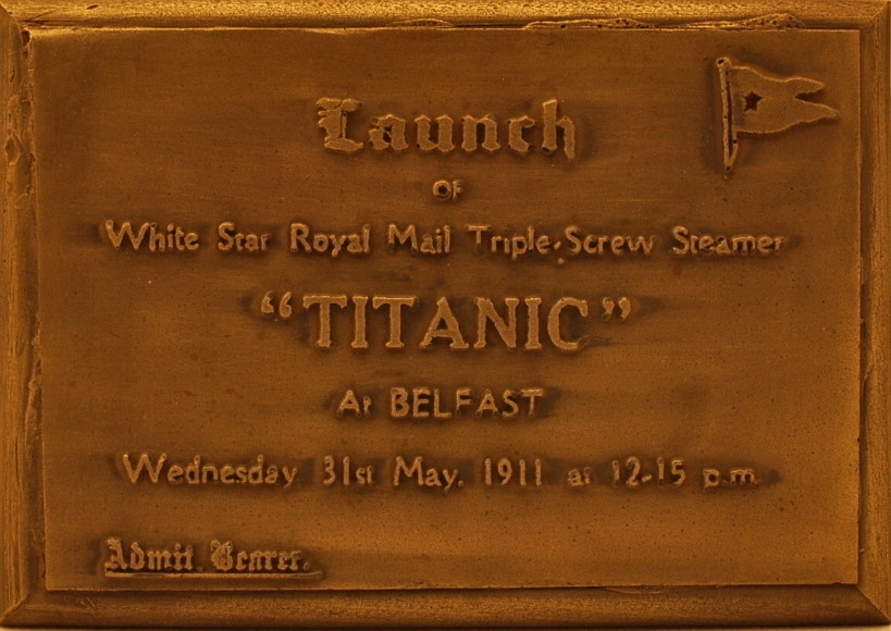 White Star Line | Titanic | Launch Ticket | Bronze Wall Plaque