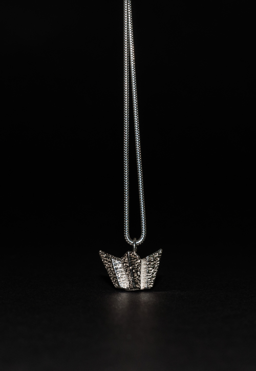 Titanic Belfast Solid Silver Necklace and Pendant - Oxidised