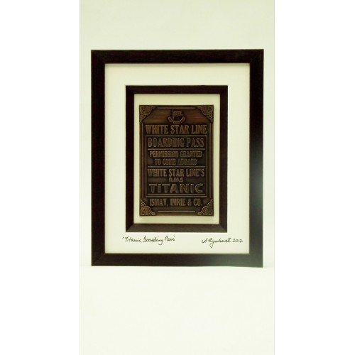 Titanic Fine Art Bronze Boarding Pass - Teak Brown Frame