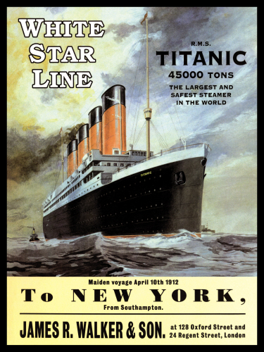 White Star Line Titanic To New York Metal Sign