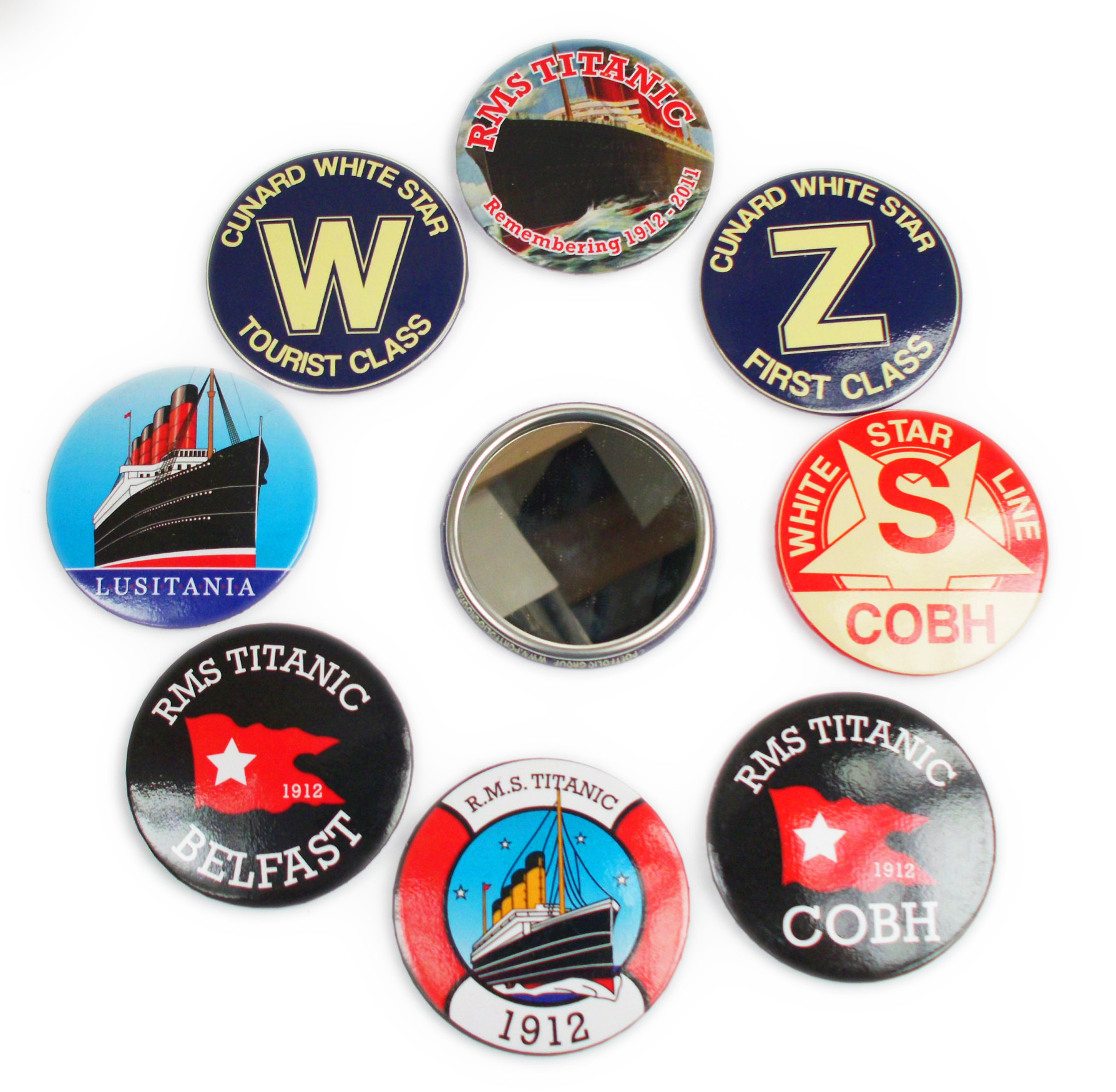 Titanic Button Mirrors Set Of 7 Assorted