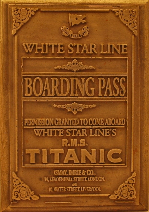 White Star Line | Titanic | Boarding Pass | Bronze Wall Plaque