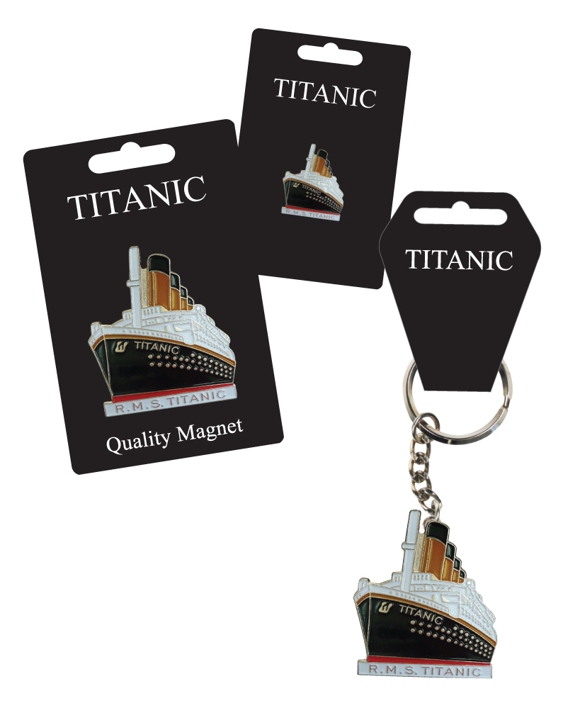 Titanic Enamel Keyring, Lapel Pin Badge & Fridge Magnet Set