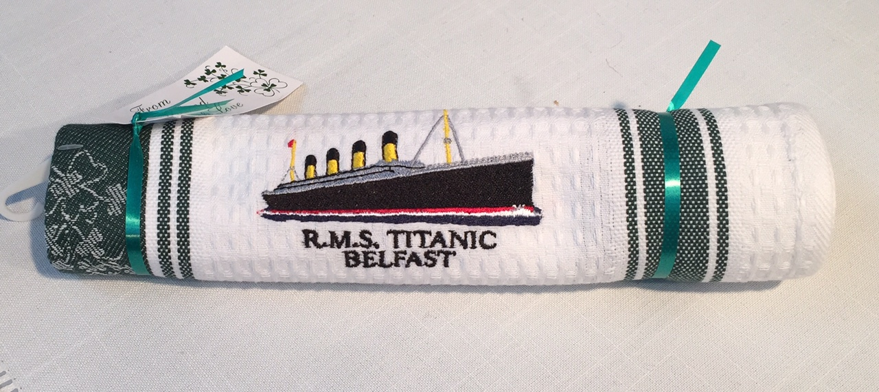 The RMS Titanic Belfast Cotton Waffle Tea Towel