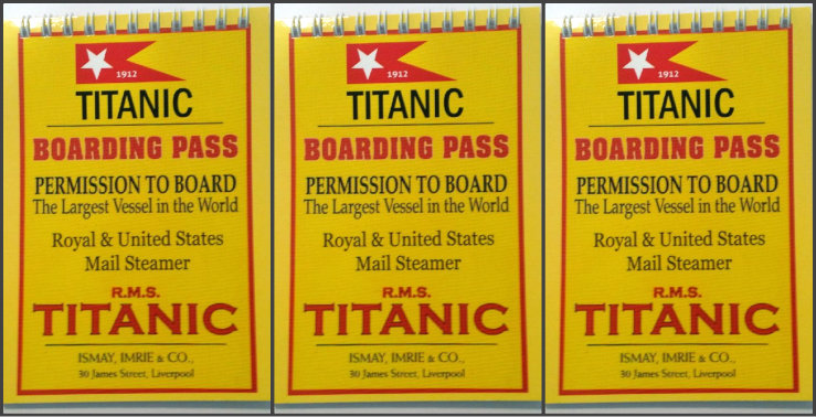 Set of 3 Titanic Boarding Pass Kids A6 Spiral Notebooks