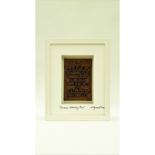 Titanic Fine Art Bronze Boarding Pass - White Frame