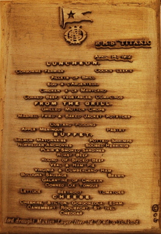 White Star Line | Titanic | Luncheon Menu | Bronze Wall Plaque