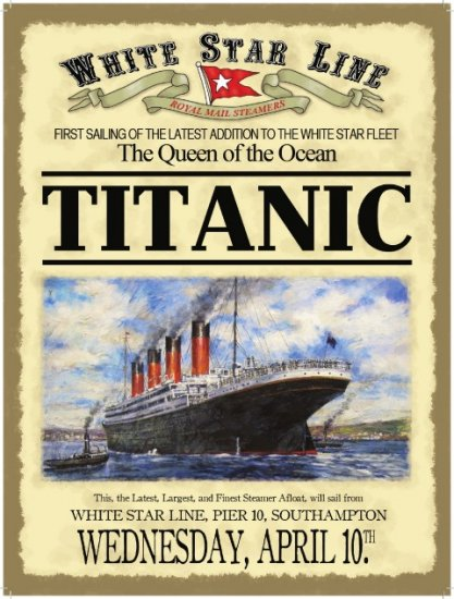 White Star Line Titanic Metal Sign | Ireland | Irish