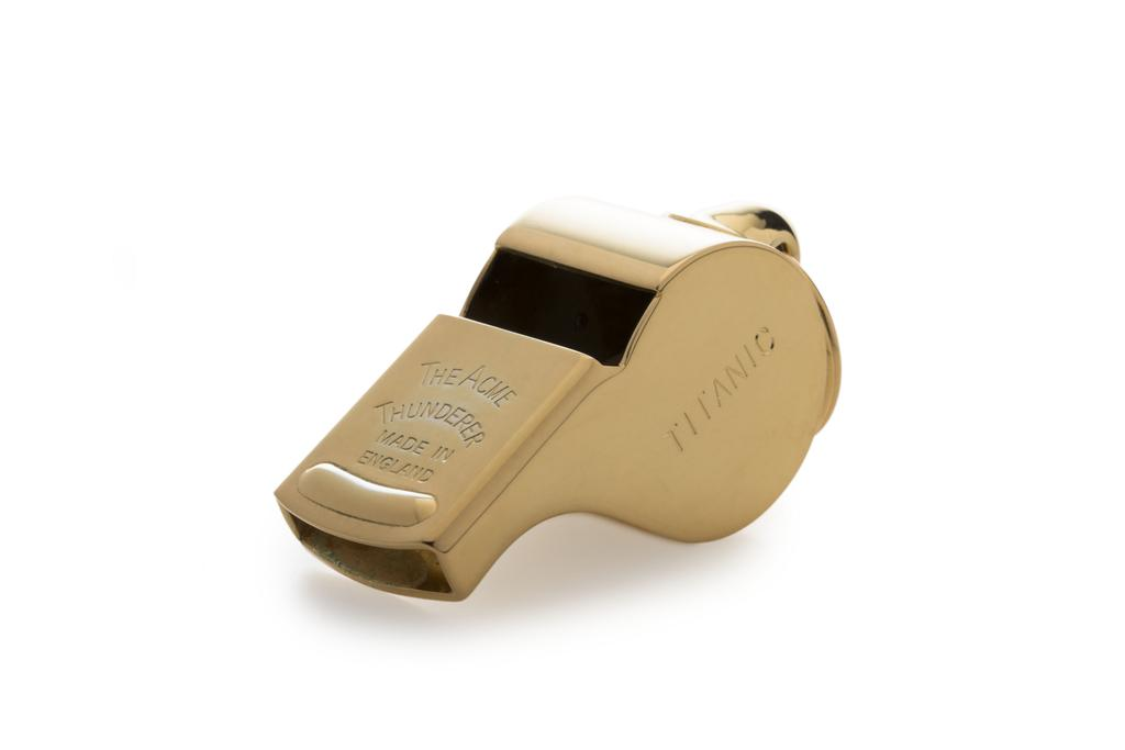 White Star Line Titanic Thunderer Whistle 58 - Gold Plated
