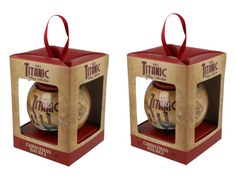 RMS Titanic 1912 Christmas Bauble Decorations Set of 2