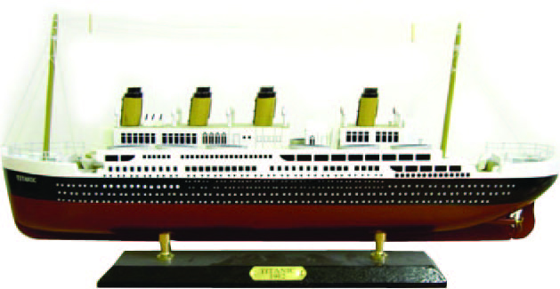 The Titanic 30cm Model Cruise Ship on a Wooden Stand