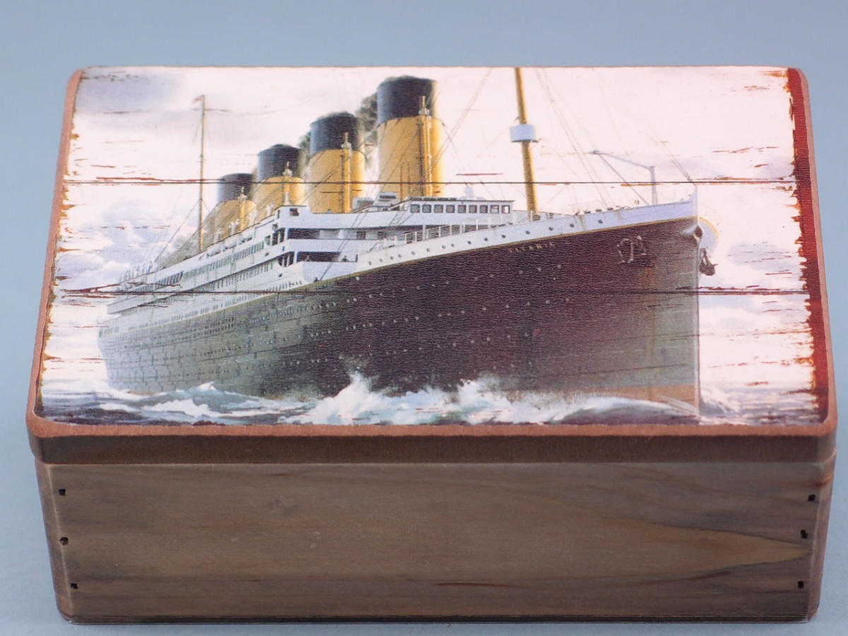 Titanic Small Wooden Storage Box with Pictorial Hinged Lid