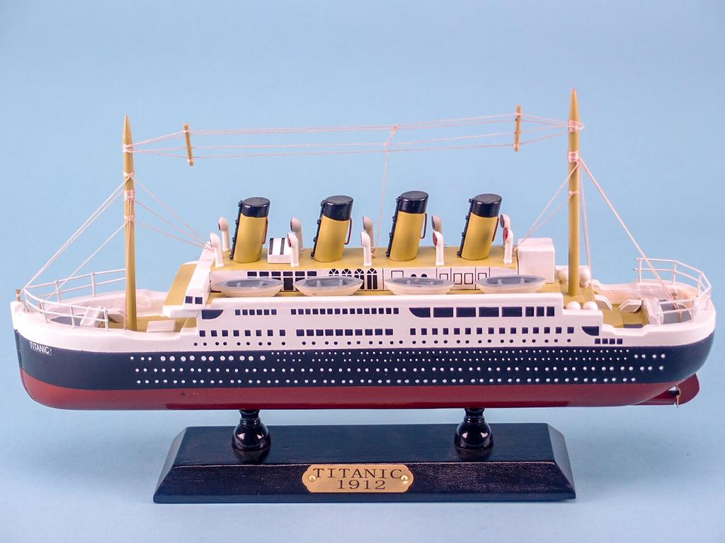The Titanic 20cm Model Cruise Ship on a Wooden Stand