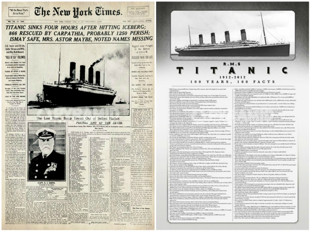 New York Times and 100 Years 100 Facts - Set of 2 Posters